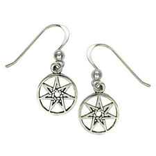 Sterling Silver Septagram Faery Elven Star Dangle Earrings - Fairy Magic Jewelry