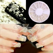 1200 Pcs Pearl Gems Beads Rhinestones Nail Art DIY Tips Decoration 3D Wheel 2mm