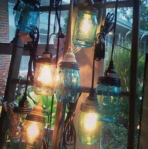 Mason Jar Pendant Light Kit 11' Cord Cloth Cord  and Jar Options, Farmhouse Chic