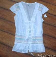 OLD NAVY ~ New NWT Size M ~ White BOHO SMOCKED EMBROIDERED PEASANT Peplum Shirt