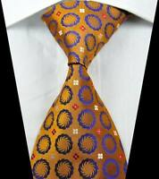 New Classic Patterns Gold Purple JACQUARD WOVEN 100% Silk Men's Tie Necktie