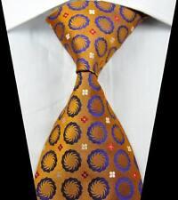 New Classic Patterns Gold Purple JACQUARD WOVEN 100% Silk Men's Tie Necktie