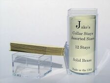 "12 Solid Brass Metal Collar Stays For Dress Shirts 2.5"" Inch Jake's Medium"