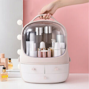 Clear Cover Makeup Cosmetic Organiser Rotating Brush Acrylic Drawer Desk Storage
