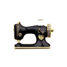 Rhinestone For Suit Pin Gifts Jewelry Black Sewing Machine Brooch Enamel Brooch