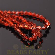 New Arrival  200pcs 4mm Faceted Bicone Loose Spacer Glass Beads Orange Red