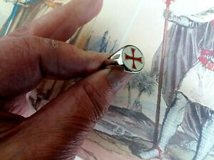 """Masonic Templar Ring.Poor Knights of Christ .Silver Plated PINKIE RING Size """"P"""""""