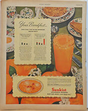 1946 magazine ad for Sunkist Oranges - Juice & Oranges for Breakfast, colorful