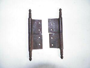 "Set Antique 1800s Iron Hinges Cabinet Door Lift Off 4 3/8"" Steeple 1 3/8"" Plates"