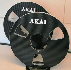 "2 X AKAI BLACK CARBON FIBER EFFECT NAB HUB METAL REEL TO REEL 10.5"" X 1/4"""