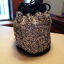 Black Cloth & Silver Sequin Bucket Handbag
