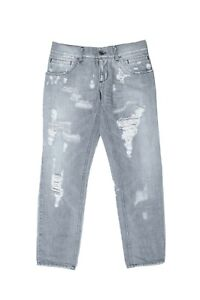 Original Dolce&Gabbana 12 Herren Disstressed Jeans Hellgrau Sz 48 It
