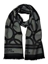 Versace Collection Men's Geometric Block Circle Pattern Wool Scarf Black Grey
