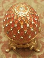 Faberge Designed Genuine Swarovski Crystal Egg Collectible Trinket Box w/ Stand