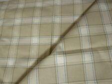 Plaid Cotton Canvas Fabric 1 2/3 yards Beige New