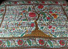 Cotton Tree of Life Tapestry Striped Tablecloth Spread Twin 60x90 inches White