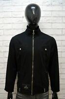 VERSACE JEANS COUTURE Uomo L Giacca Giubbotto Nero Giubbino Jacket Man Black Zip