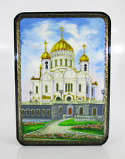 """Lacquer box Fedoskino """"Church of Christ the Savior"""" Moscow Hand Painted  #98"""