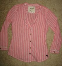 Girls' S Abercrombie Long Sleeve Pink Striped Button Down Ruffle V-Neck Shirt