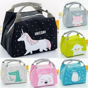 Portable Insulated Lunch Bag Cartoon Pattern Girls Child Kids Picnic Tote School