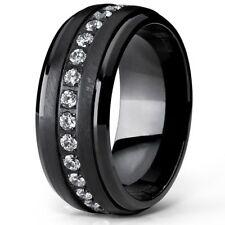 Men's Eternity Wedding Band Black Titanium CZ  9mm Ring NEW*