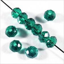 50 perles a Facettes Rondelles 4 x 3mm en Cristal Vert Emeraude