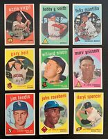 Lot of 9 1959 Topps Baseball Cards w/ Gray & White Backs, Ozzie Virgil, +