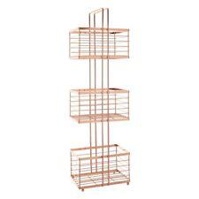 3 Shelf Rectangular Rose Gold Storage Basket Organiser Iron Wire