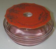 VANITY Hair Receiver Celluloid Lid Art Deco Pink Depression Glass Horizontal Rib
