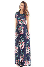 Short Sleeve Navy Blue Floral Print Pocket maxi Dress size UK 12-14