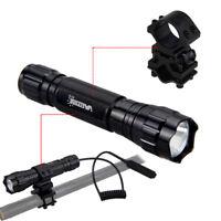 5000LM T6 LED Flashlight Torch Hunting Light Gun/Rifle Mount Pressure Switch