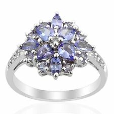 Natural Tanzanite Ring  White Topaz cluster Flower 0.925 sterling silver Ring