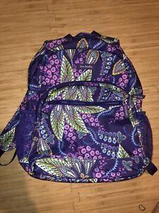 VERA BRADLEY Large Batik Leaves purple Backpack 16 x 12 x 6 GUC