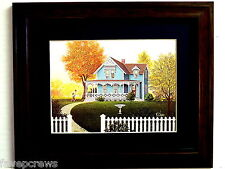 OLD COUNTRY  HOUSE PICTURE BIRD BATH PICKET FENCE MATTED FRAMED 8X10