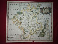 ROBERT MORDEN HAND COLOURED COLOURED MAP OF WORCESTERSHIRE PUBL.CIRCA 1695