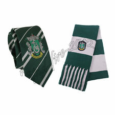 2pcs Harry Potter Slytherin Scarf + Necktie Tie Costume Cosplay Hollaween Gift