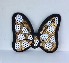 DISNEY MINNIE MOUSE BOW SEQUIN EMBROIDERED APPLIQUÉ PATCH SEW OR IRON GOLD #481