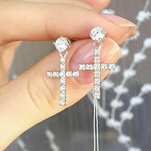 14k White Gold Finish 1.00 Ct Round Cut Diamond Cross Dangle Earrings
