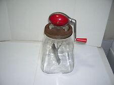 Beautiful Vintage DAZEY No.8 Red Football Top  Glass Jar Butter Churn  Pat Pend