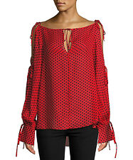 NEW NWT $375 MILLY RED BLACK CONNIE POLKA DOT TIE DETAILS SILK BLOUSE SHIRT TOP