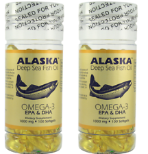 Alaska Deep Sea Fish Oil, Omega 3, DHA/EPA 1000 mg 200 Softgels NEW FAST SHIP