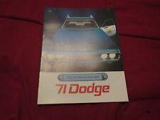 1971 DODGE POLARA CORONET POLICE COP CARS RARE ORIGINAL DEALER SALES BROCHURE