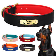 Personalized Dog Leather Collars Soft Neoprene Padded Name ID Tag Engraved S-2XL