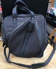Vintage Retro Tennis Racquet Bag Blue Canvas & Leather carrier