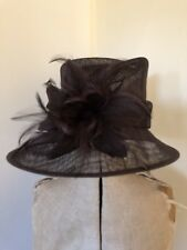 Ladies Hat Box Chocolate Brown Hat with Feathers