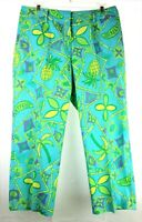 LILLY PULITZER Womens Size 8 Yellow and Aqua Multicolored Tropical Cropped Pants