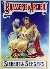 """""""BRASSERIE d'ARCUEIL"""" Affiche originale entoilée litho début 1900   40x54cm"""