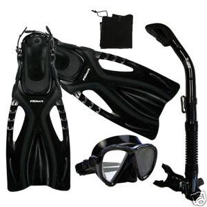 Adult Snorkeling Gear Set Silicone Dive Mask Dry Snorkel Fins Flippers Bag