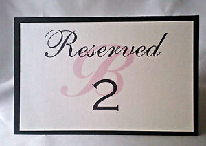 Custom Monogram Black and White RESERVE table sign