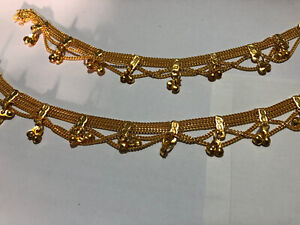 White Pearl 22CT Gold Stunning Pair of Anklet Payal Chain Crystal Stones W/Bells